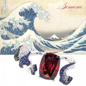SIMONE-MIDDLE insta wave ring w painting